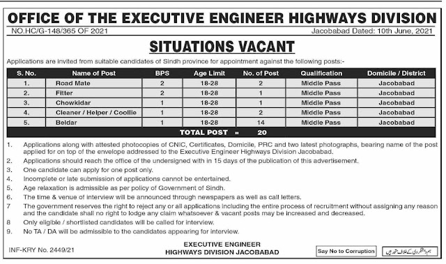 Executive Engineer Office Highways Division Jacobabad Jobs 2021 – Jobs in Pakistan 2021