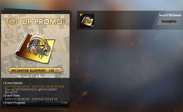 Event Hari Pahlawan 10/11 Free Fire Top Up Promo Bonus Incubator Blueprint