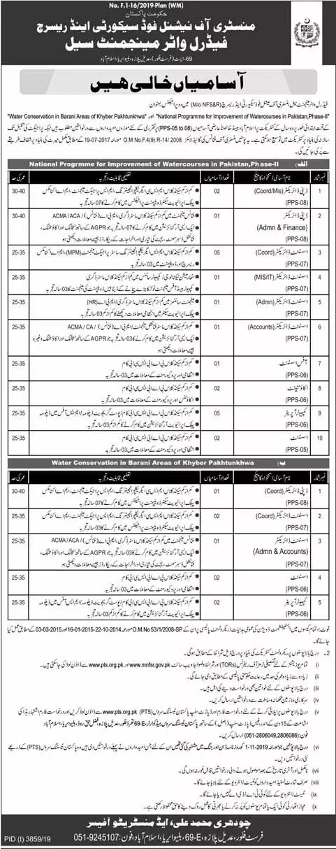 Ministry of National Food Security & Research Jobs