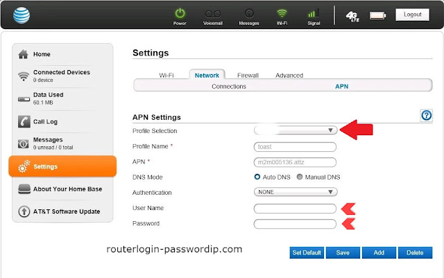 at & t router login settings