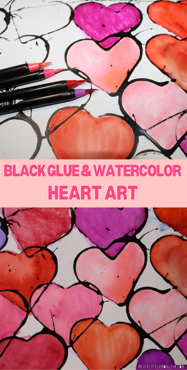 Watercolor heart art project for kids. Black glue and watercolour hearts.