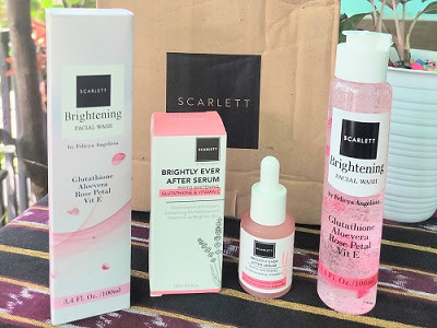 Review Scarlett Brightening Facial wash dan brightly ever after serum