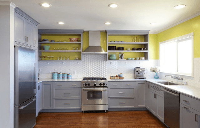 Best Painted Kitchen Cabinet Ideas - Open Shelving