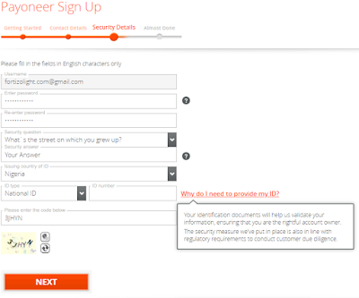 Payoneer Sign Up | Security Details