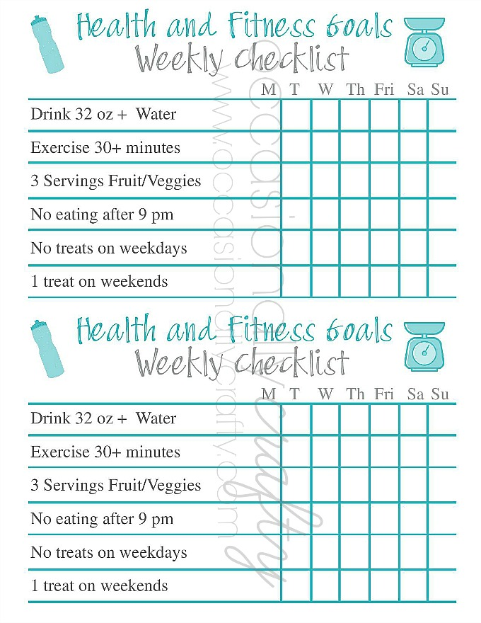 Free Printable Health and Fitness Goal Checklist Occasionally - weekly checklist