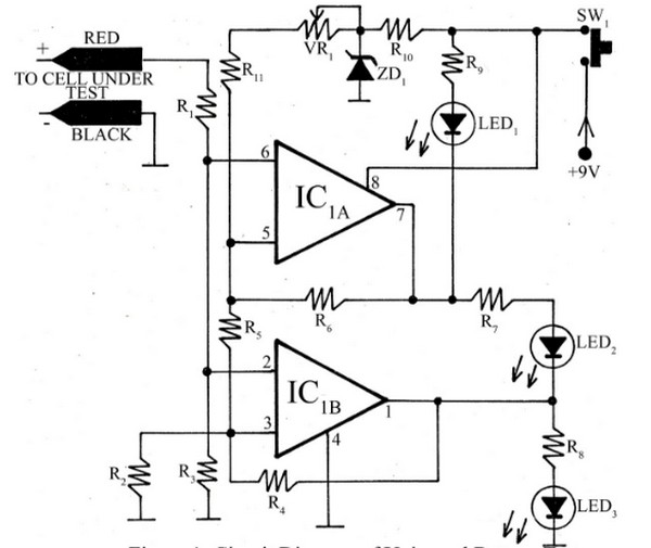 circuit schematic universal battery tester using tl072cd