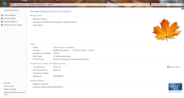 Ghost Windows 7 Lite Autumn (32Bit & 64Bit) Siêu Nhẹ Chuẩn MBR & UEFI