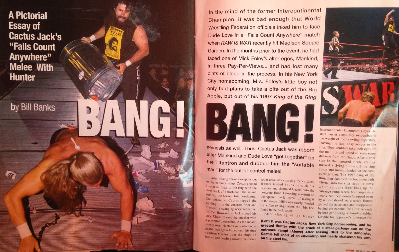 WWE: WWF RAW MAGAZINE - January 1998 - Triple H vs. Cactus Jack pictorial