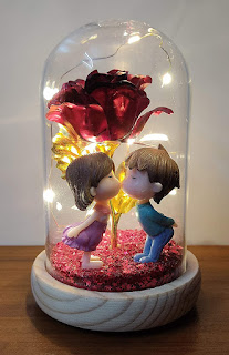 Birthday Gift Love Art Kissing Couple & Rose with LED Light Battery Operated Showpiece