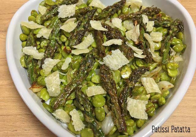 recette de poêlée de légumes, légumes printaniers, fèves, asperges vertes, oignons nouveaux, légumes verts, cuire des légumes de printemps, petits producteurs, patissi-patatta