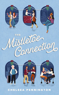 A light blue background with six ovals of darker blue. In front of each oval is an illustration of one or two characters, with mistletoe hanging at the top of the oval. In white script font in the middle is the title The Mistletoe Connection, and in white block letters at the bottom is the author name Chelsea Pennington.