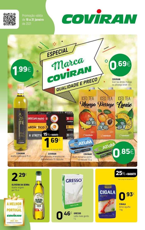 """Folheto Supermercados Coviran - """"Especial Marca Coviran"""" todas as promoções aos melhores preços até 31 janeiro"""
