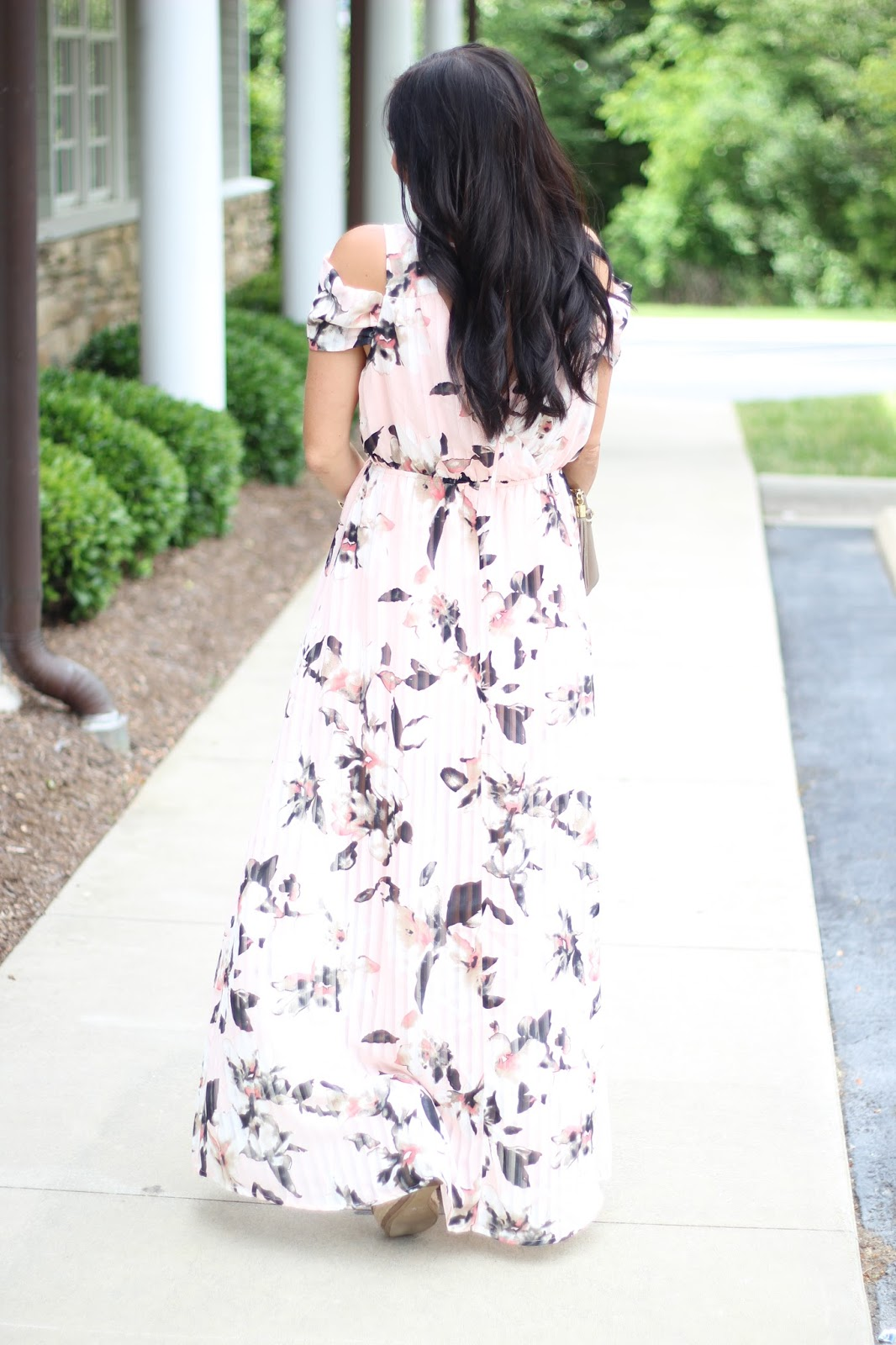 Stilettos and Diapers floral maxi dress, espadrille wedge dupes