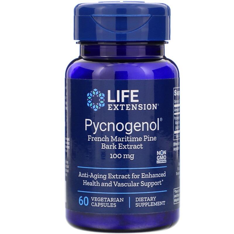 Life Extension, Пикногенол, экстракт коры французской приморской сосны, 100 мг, 60 вегетарианских капсул