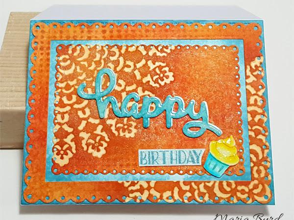 Happy Birthday Cupcake Card in Orange & Blue