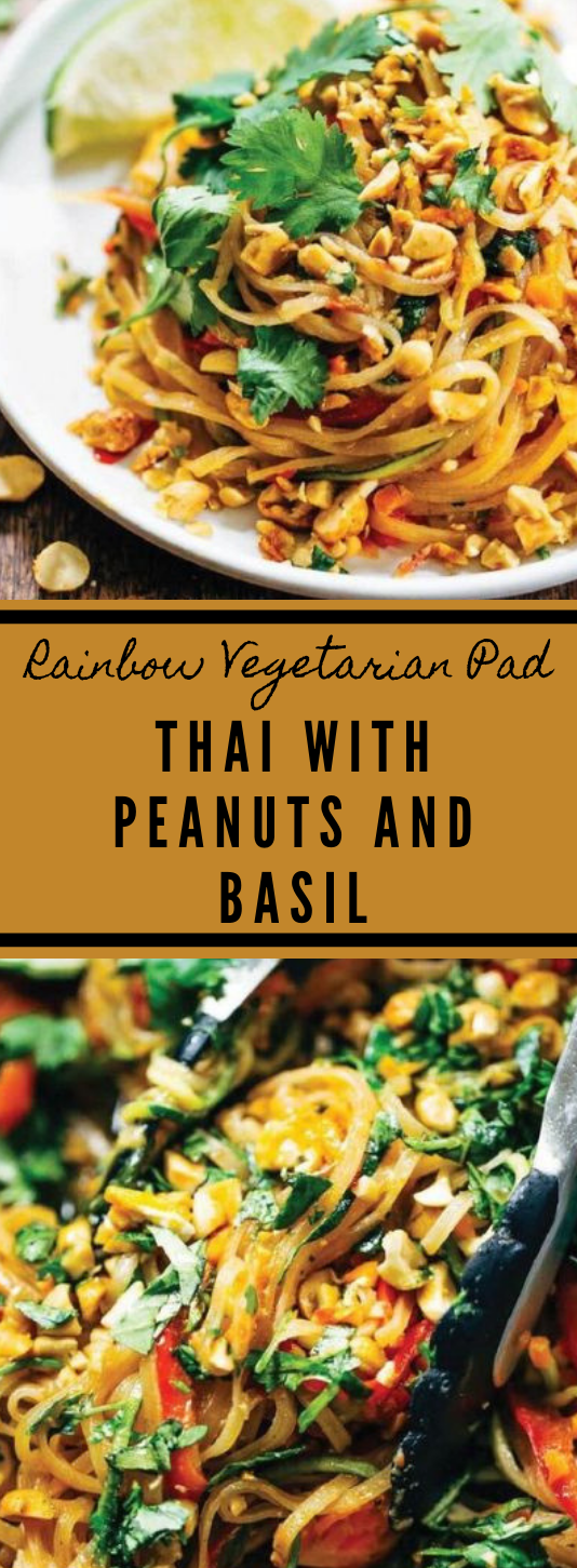 Rainbow Vegetarian Pad Thai With Peanuts and Basil #vegetarian #vegan #breakfast #basil #recipes