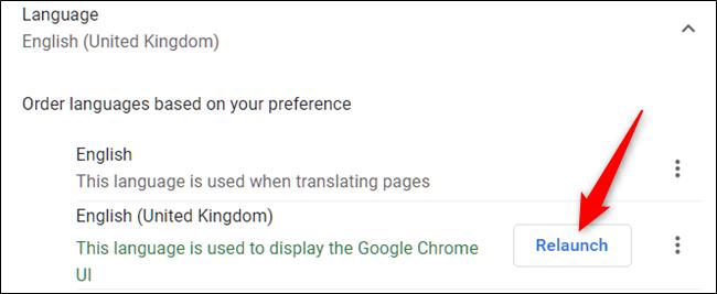 """بعد تحديد اللغة كلغة افتراضية ، أعد تشغيل Chrome عند النقر فوق """"إعادة التشغيل""""."""