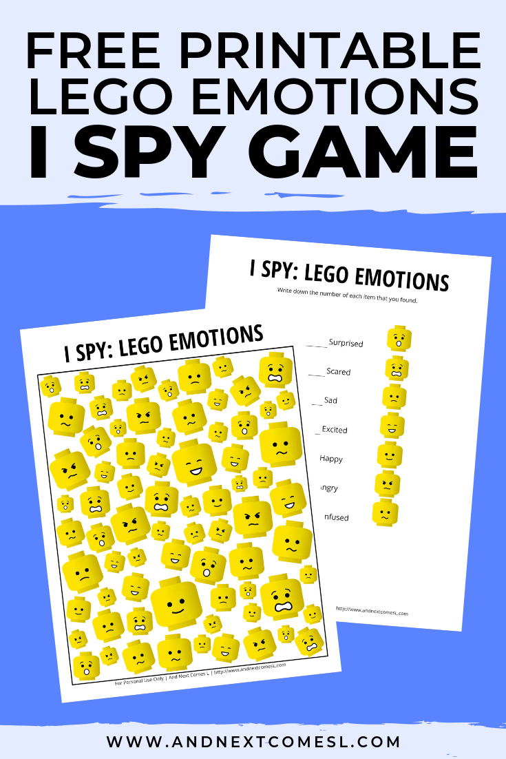 Free I spy game printable for kids: LEGO emotions themed