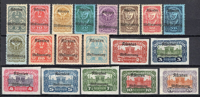 Austrian stamps issued in 1920 for the Carinthian plebiscite