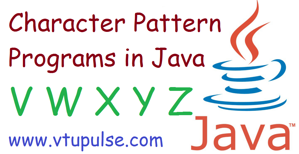 A to Z character pattern programs in java part 6
