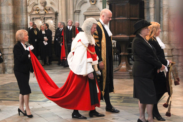 The annual Judges Service at Westminster Abbey, 2013. The Lord Chief Justice of England and Wales, the head of the judiciary and President of the Courts of England and Wales, The Right Honourable Sir John Thomas, in full traditional dress, proceeds into the Abbey. Court Complexities and Legal Fiction, A Moron In A Hurry marchmatron.com