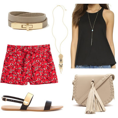 H&M - Patterned Shorts - Red/floral - Ladies • H&M • $14.99 FOREVER 21 Tasseled Faux Leather Crossbody • Forever 21 • $22.90 Free People Long Beach Tank • Free People • $14 FOREVER 21 Plated Faux Leather Sandals • Forever 21 • $15.90 Twist Lock Wrap Bracelet • Charming charlie • $14 Women's Topshop Filigree Bead Fringe Necklace - Gold Multi • Topshop • $22