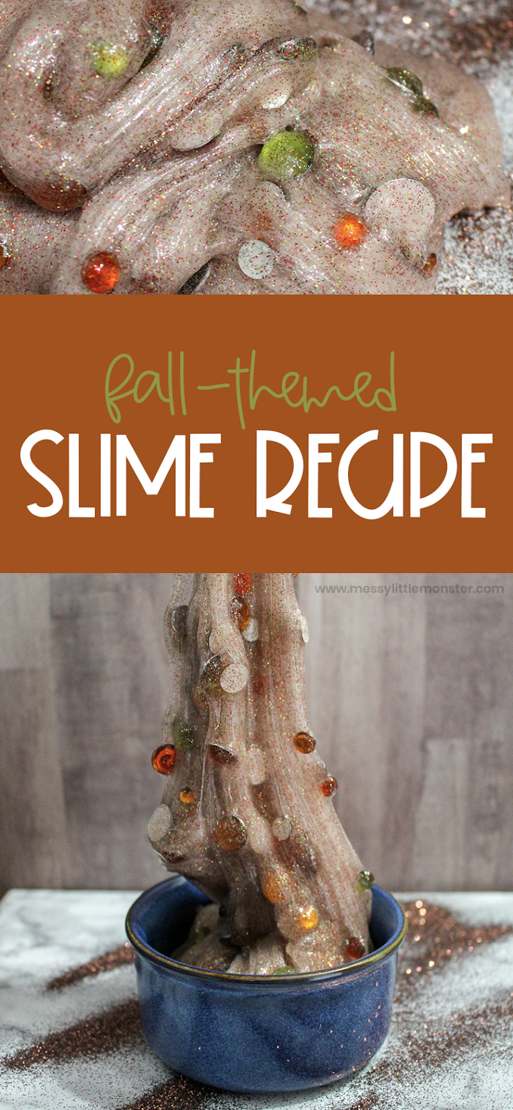 Fall slime recipe. An easy contact solution slime.