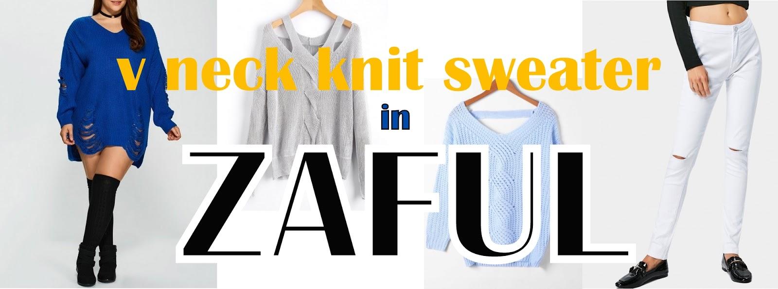 V neck knit sweaters from ZAFUL - Czas na jesienne zakupy ;)