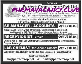 PERFECT CROPSCIENCE PVT LTD requires Accounts & QC Dept vacancy for Ahemedabad location.