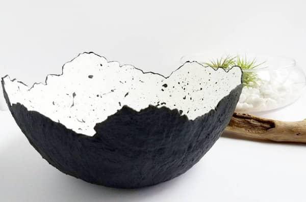 black and white splatter paint paper mache bowl
