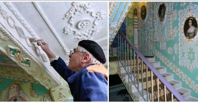 Киевский пенсионер сделал из своего старого подъезда настоящее произведение искусства