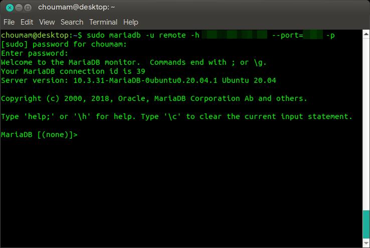Akses jarak jauh MariaDB menggunakan konsol Terminal