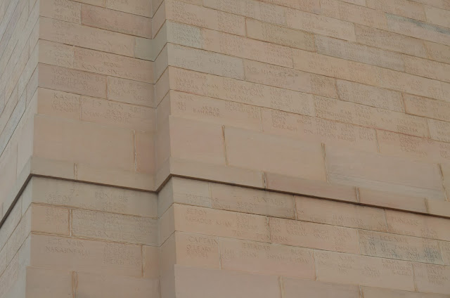 Names of soldiers on the walls of India Gate