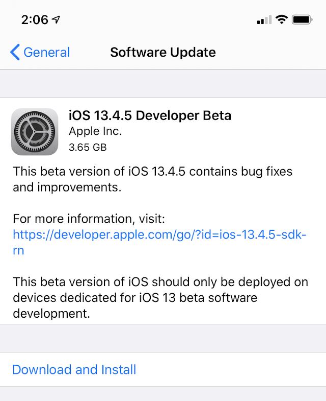 Apple lança primeira versão beta do iOS 13.4.5