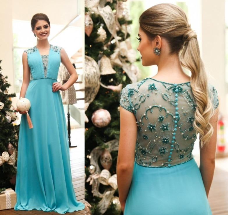 Vestido de festa cor azul turquesa