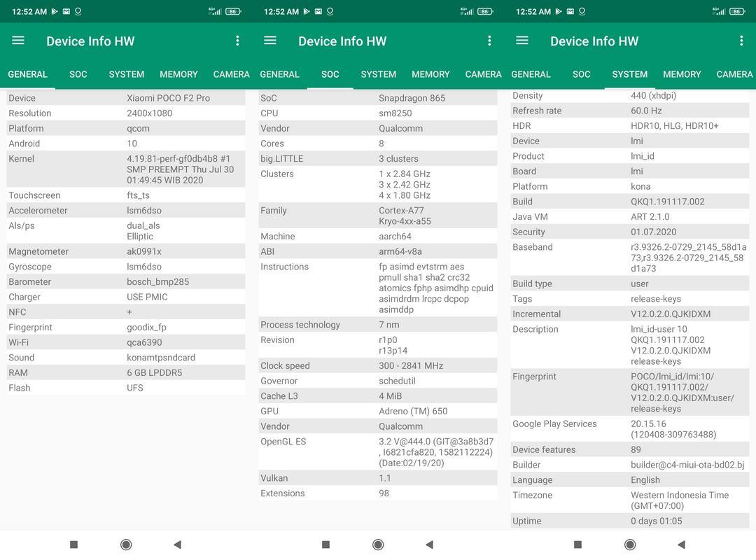 Device Info HW Poco F2 Pro