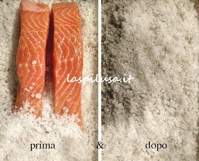 salmone marinato alla svedese sale e zucchero