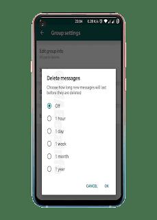جديد شركة واتس اب يختبر ميزة جديدة تسمح للمستخدمين من حذف الرسائل تلقائيآ