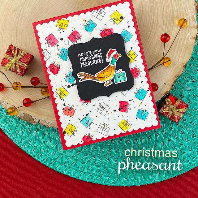 Pheasant Christmas Card by Jennifer Jackson | Christmas Pheasant Stamp Set and Frames & Flags Die Set by Newton's Nook Designs