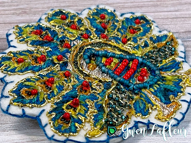Gwen Lafleur PaperArtsy May 2021 Stamp Release - EGL18 Embroidered Peacock Brooch Closeup
