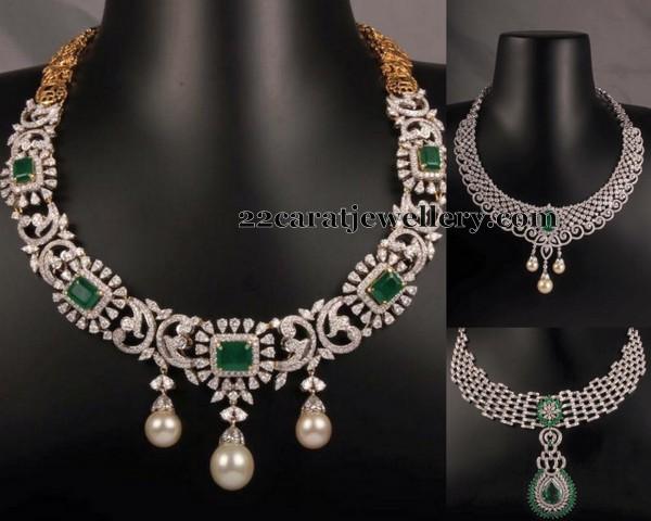 Emerald Stone Diamond Sets Jewellery Designs