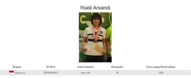 Profile akun WCA dari Riadi Arsandi yang berada pada peringkat kelima nasional dalam menyelesaikan rubik Pyraminx