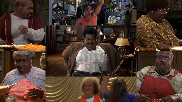 movie - 1996 - a collage showing Eddie Murphy's seven roles in The Nutty Professor.