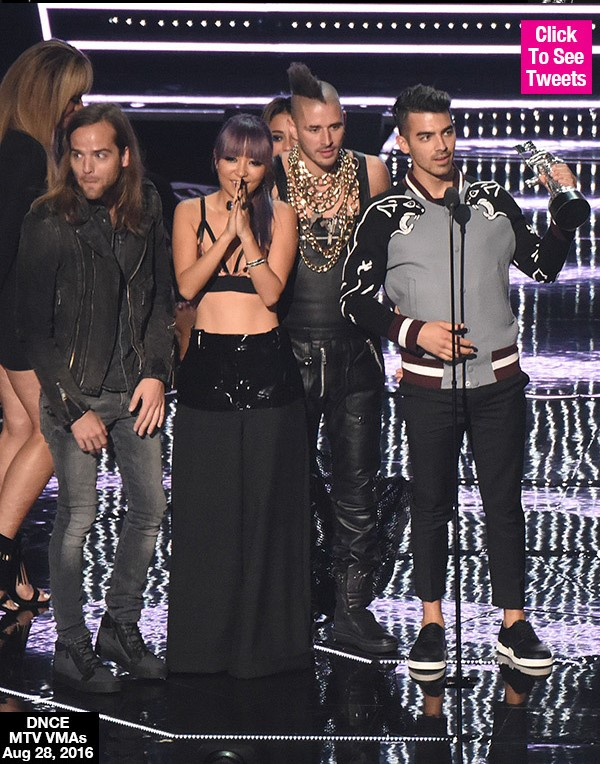 DNCE: Demi Lovato, Nick Jonas & Fans Congratulate Joe's Band After Big VMA Win