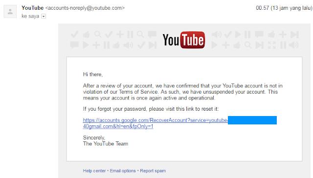 akun youtube ditangguhkan
