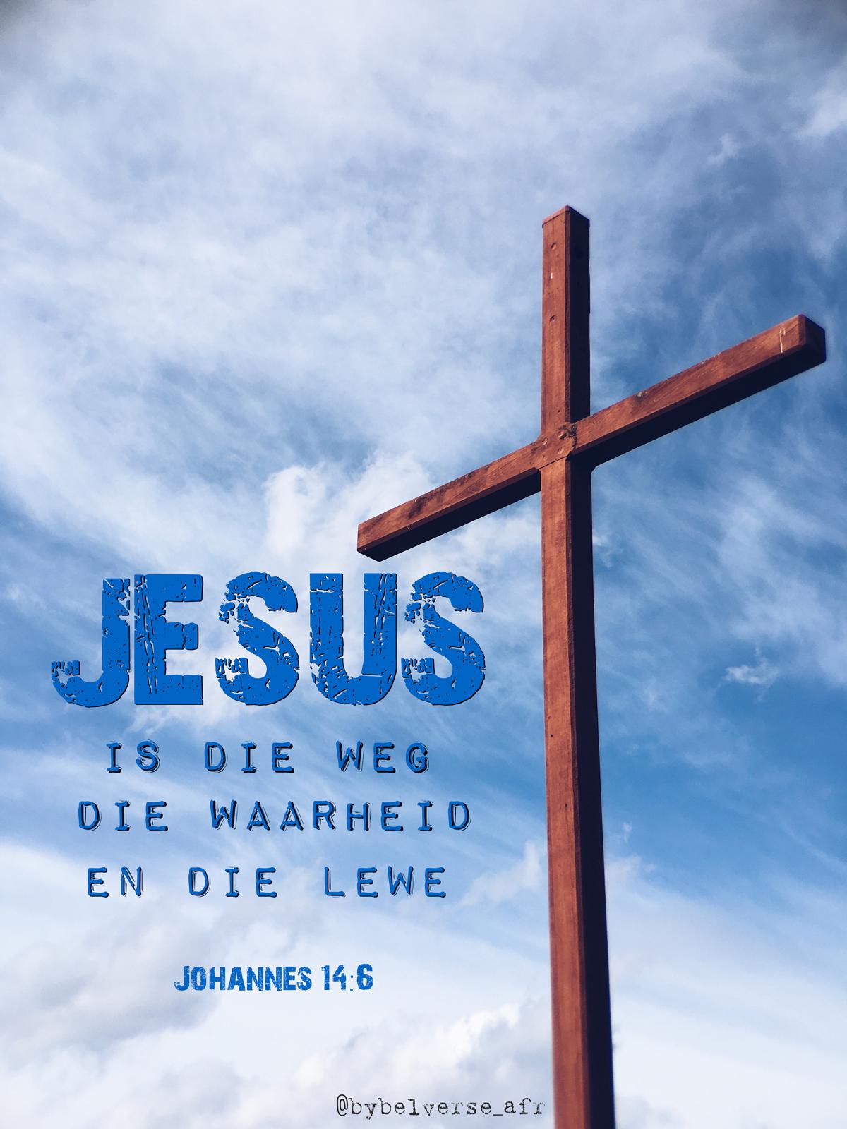 Jesus antwoord hom:  Ek is die weg en die waarheid en die lewe;  niemand kom na die Vader behalwe deur My nie.  Johannes 14:6 #afrikaans #bybelvers #jesus