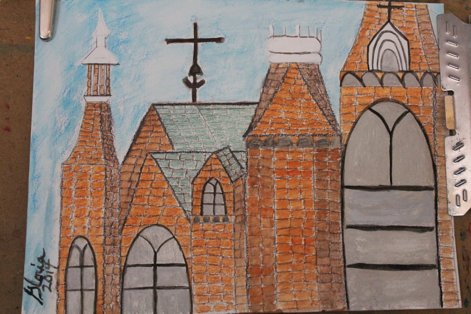 architecture sketch by Gloria Poole, RN, artist, of Missouri 3 June 2014