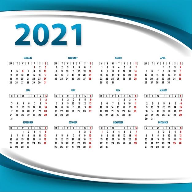 Calendario 2021 gratis editable