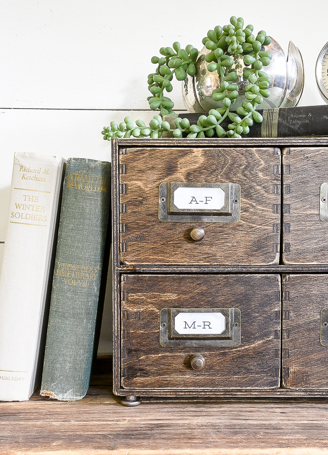 IKEA Moppe turned faux card catalog