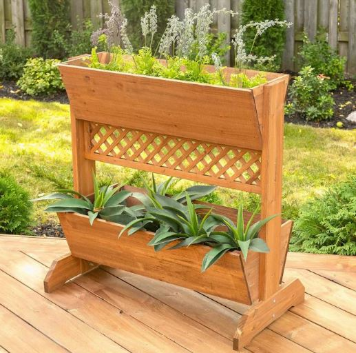 repurposed wood containers outdoor garden planters deck plants